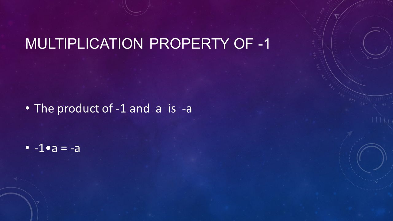 MULTIPLICATION PROPERTY OF -1 The product of -1 and a is -a -1a = -a
