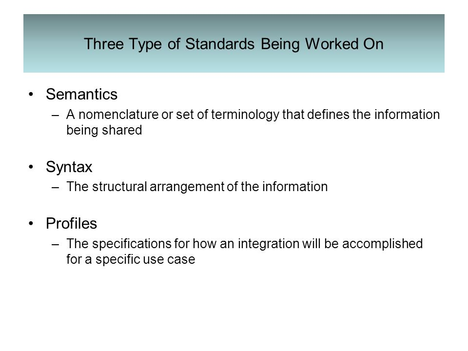 Three Type of Standards Being Worked On Semantics –A nomenclature or set of terminology that defines the information being shared Syntax –The structural arrangement of the information Profiles –The specifications for how an integration will be accomplished for a specific use case