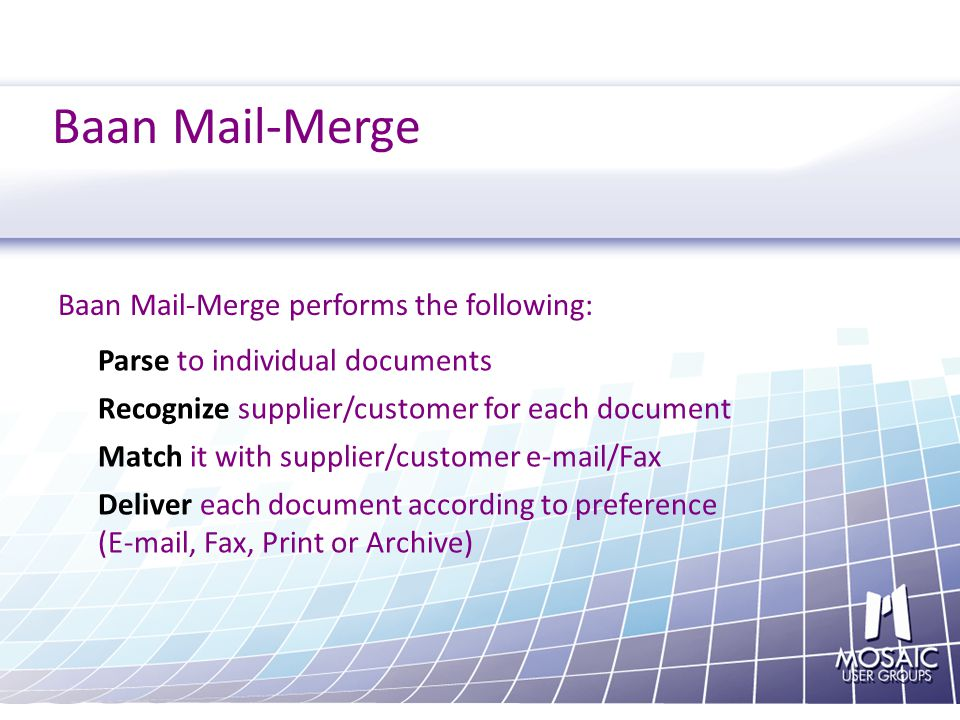 Baan Mail Merge 6 5 Automatically Fax Print And Archive Documents