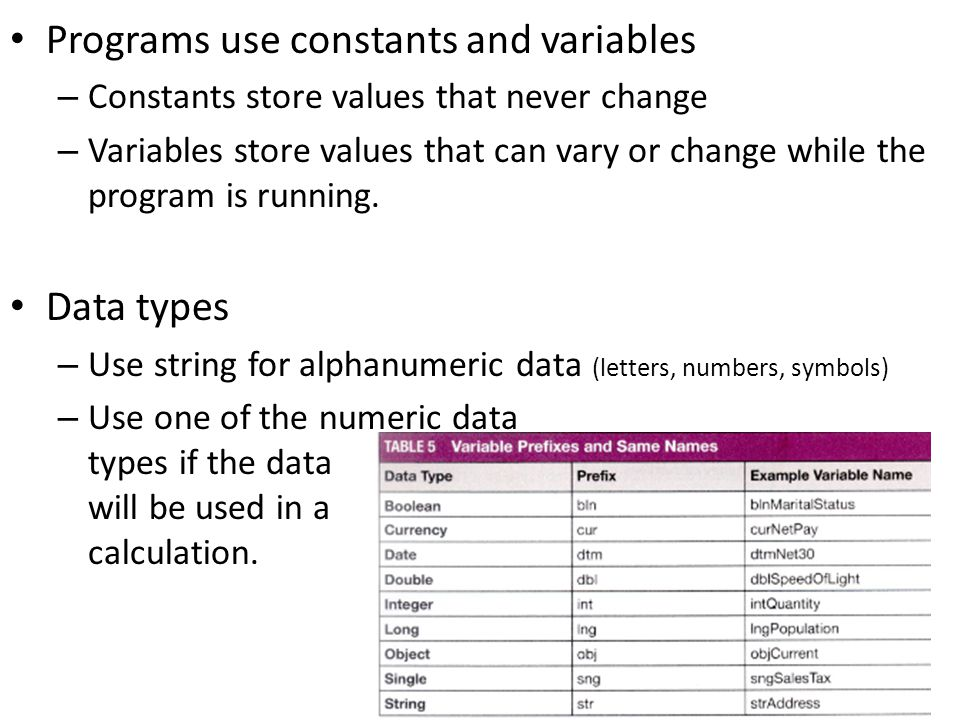 Programs use constants and variables – Constants store values that never change – Variables store values that can vary or change while the program is running.
