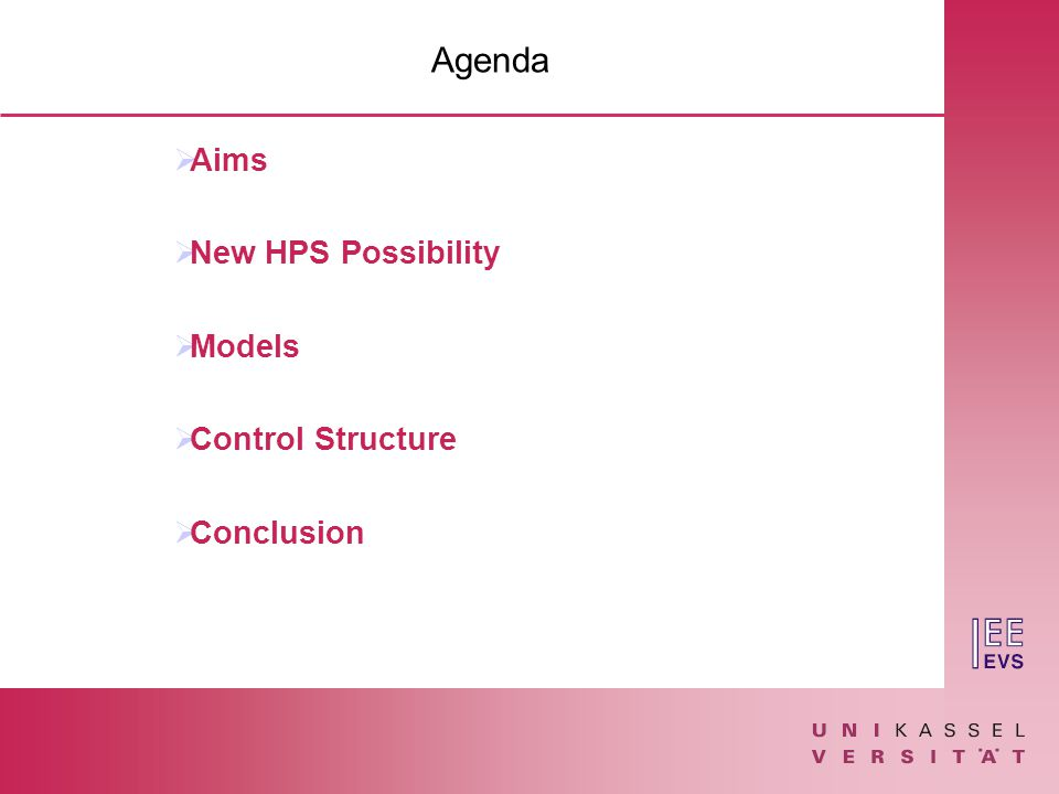 Agenda  Aims  New HPS Possibility  Models  Control Structure  Conclusion