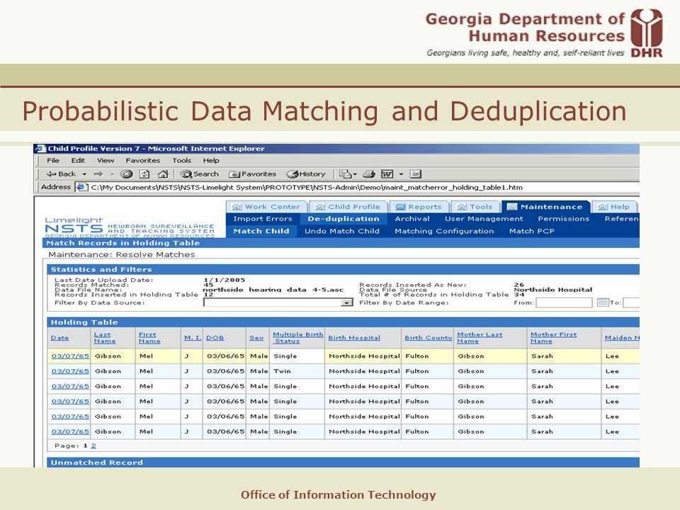 Office of Information Technology Probabilistic Data Matching and Deduplication