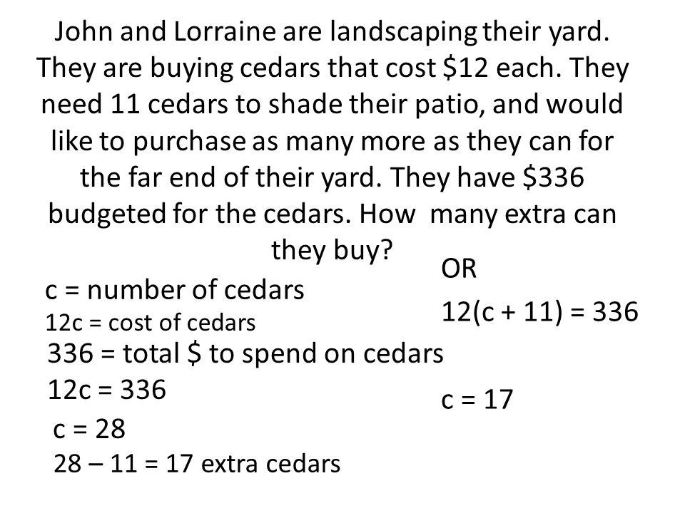 John and Lorraine are landscaping their yard. They are buying cedars that cost $12 each.