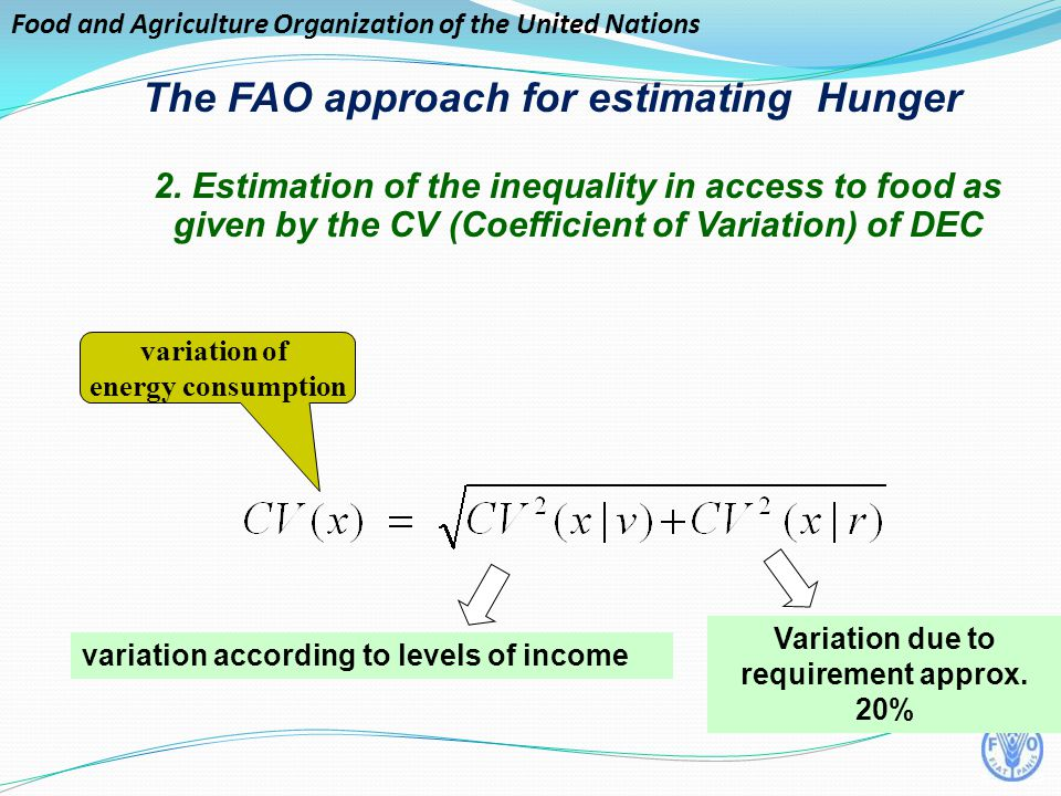 Food and Agriculture Organization of the United Nations variation of energy consumption Variation due to requirement approx.