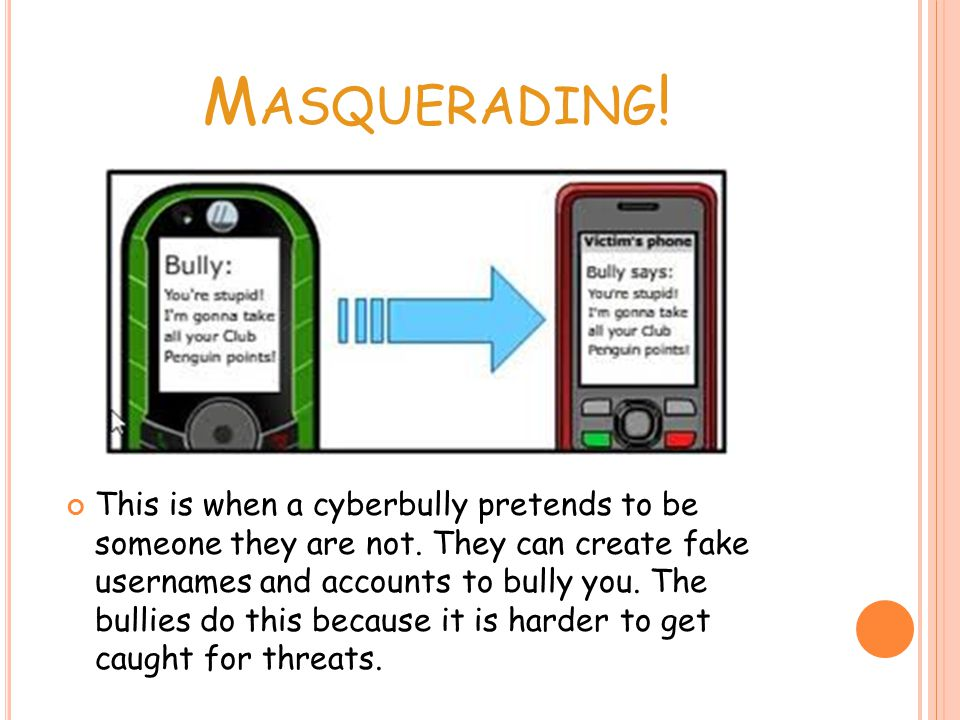 M ASQUERADING . This is when a cyberbully pretends to be someone they are not.