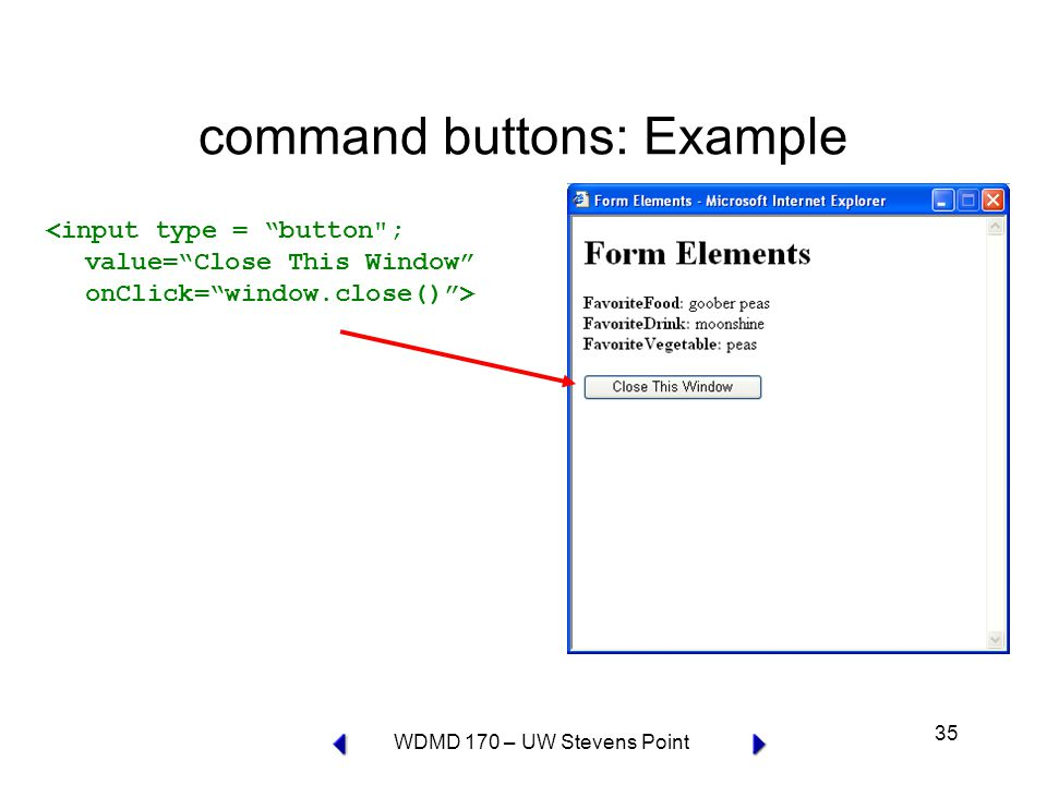 WDMD 170 – UW Stevens Point 35 command buttons: Example