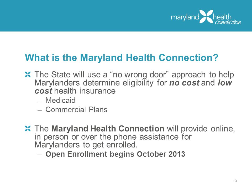 The State will use a no wrong door approach to help Marylanders determine eligibility for no cost and low cost health insurance –Medicaid –Commercial Plans The Maryland Health Connection will provide online, in person or over the phone assistance for Marylanders to get enrolled.