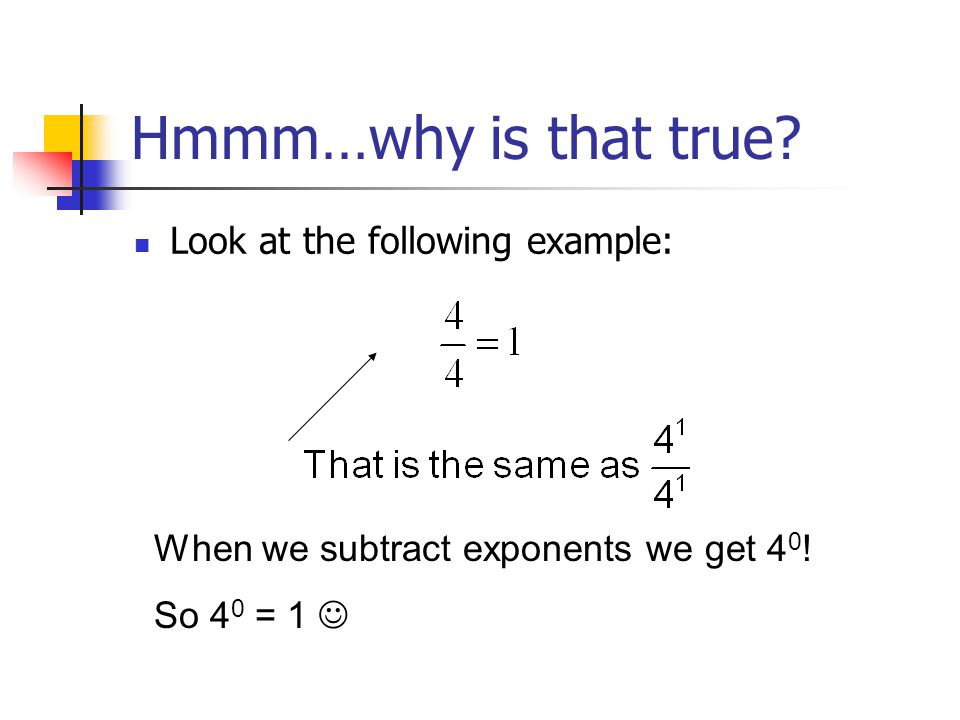 Hmmm…why is that true. Look at the following example: When we subtract exponents we get