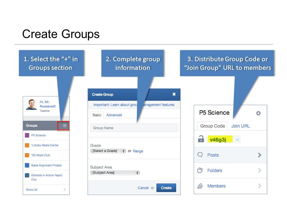 Create Groups 1. Select the + in Groups section 2.