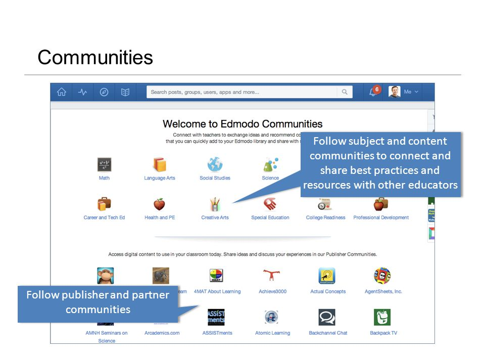 Communities Follow publisher and partner communities Follow subject and content communities to connect and share best practices and resources with other educators