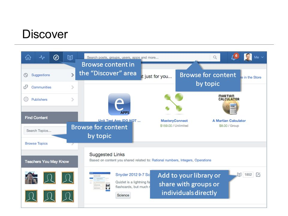 Discover Add to your library or share with groups or individuals directly Browse for content by topic Browse content in the Discover area