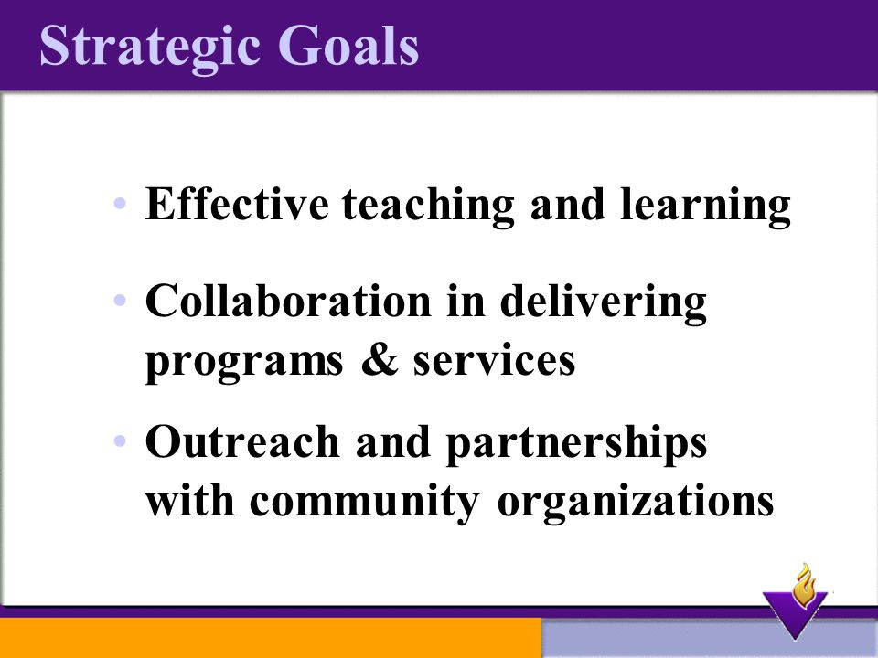 Strategic Goals Effective teaching and learning Collaboration in delivering programs & services Outreach and partnerships with community organizations
