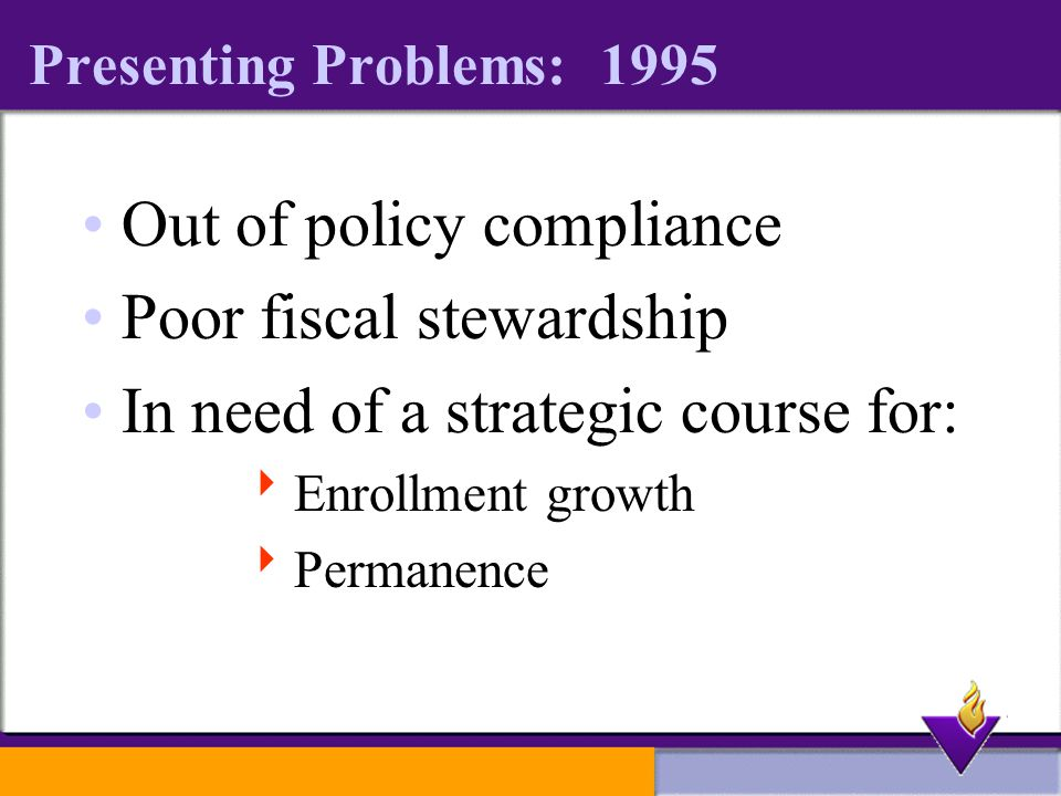 Presenting Problems: 1995 Out of policy compliance Poor fiscal stewardship In need of a strategic course for:  Enrollment growth  Permanence
