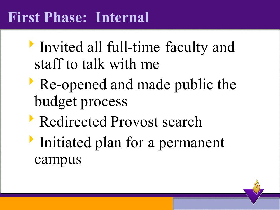 First Phase: Internal  Invited all full-time faculty and staff to talk with me  Re-opened and made public the budget process  Redirected Provost search  Initiated plan for a permanent campus