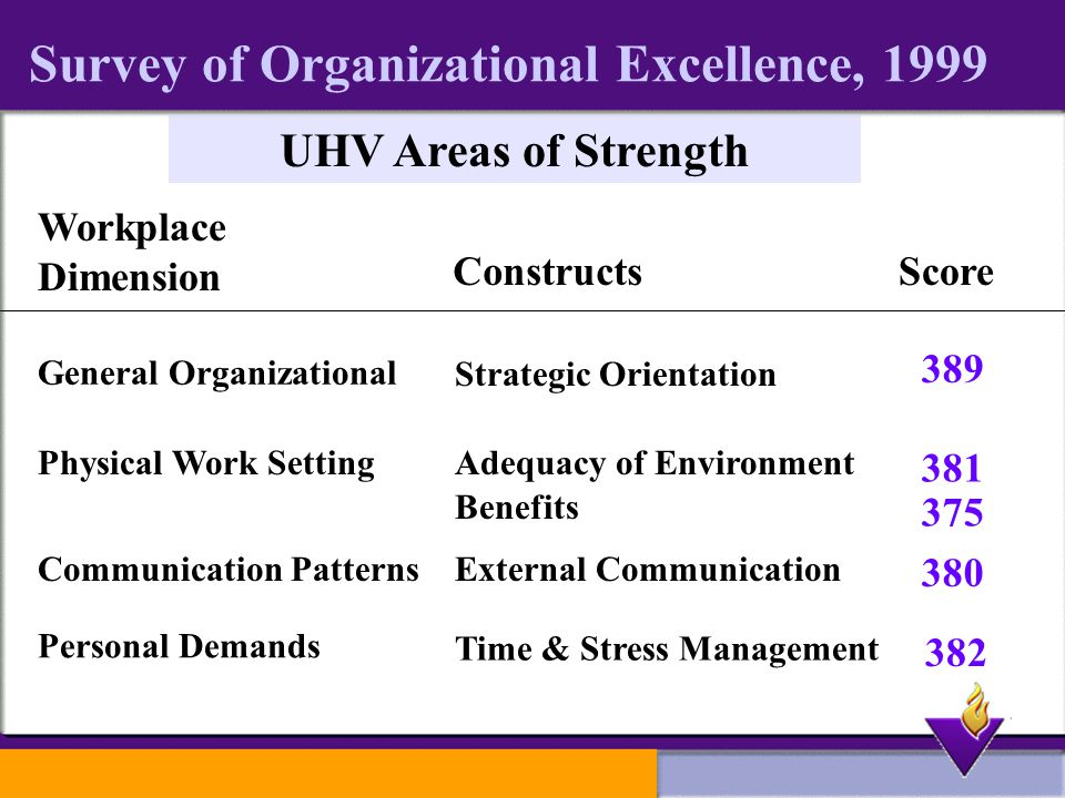 Survey of Organizational Excellence, 1999 UHV Areas of Strength Workplace Dimension ConstructsScore General Organizational Physical Work Setting Communication Patterns Personal Demands Strategic Orientation Adequacy of Environment External Communication Time & Stress Management Benefits