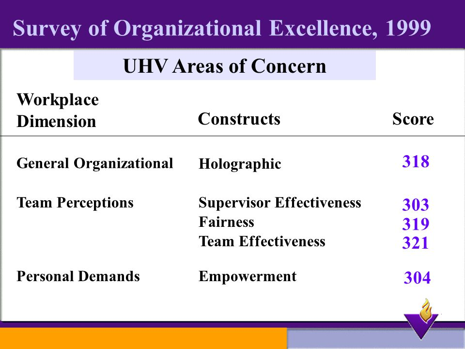 Survey of Organizational Excellence, 1999 UHV Areas of Concern Workplace Dimension ConstructsScore General Organizational Team Perceptions Personal Demands Holographic Supervisor Effectiveness Team Effectiveness Empowerment Fairness