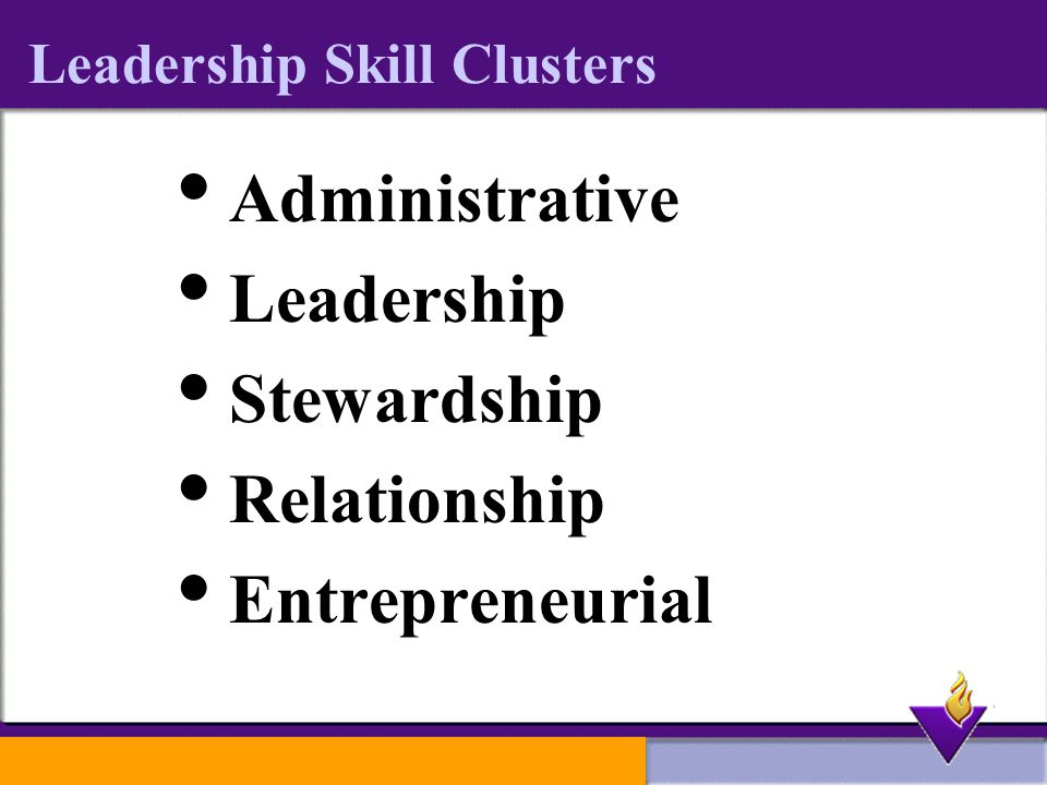 Leadership Skill Clusters  Administrative  Leadership  Stewardship  Relationship  Entrepreneurial