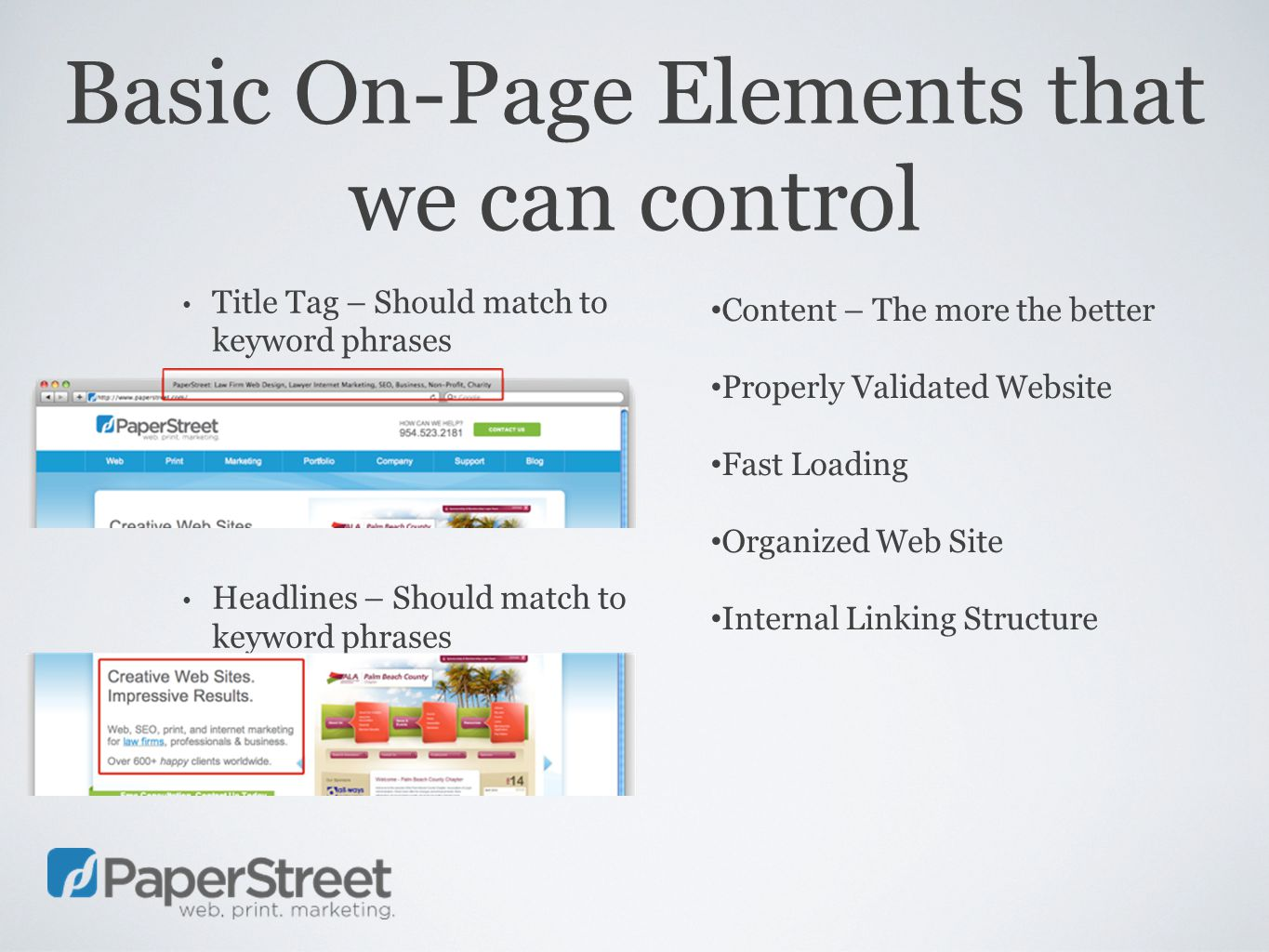 Basic On-Page Elements that we can control Title Tag – Should match to keyword phrases Headlines – Should match to keyword phrases Content – The more the better Properly Validated Website Fast Loading Organized Web Site Internal Linking Structure
