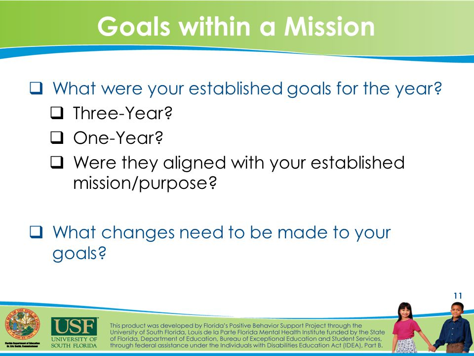 11 Goals within a Mission  What were your established goals for the year.