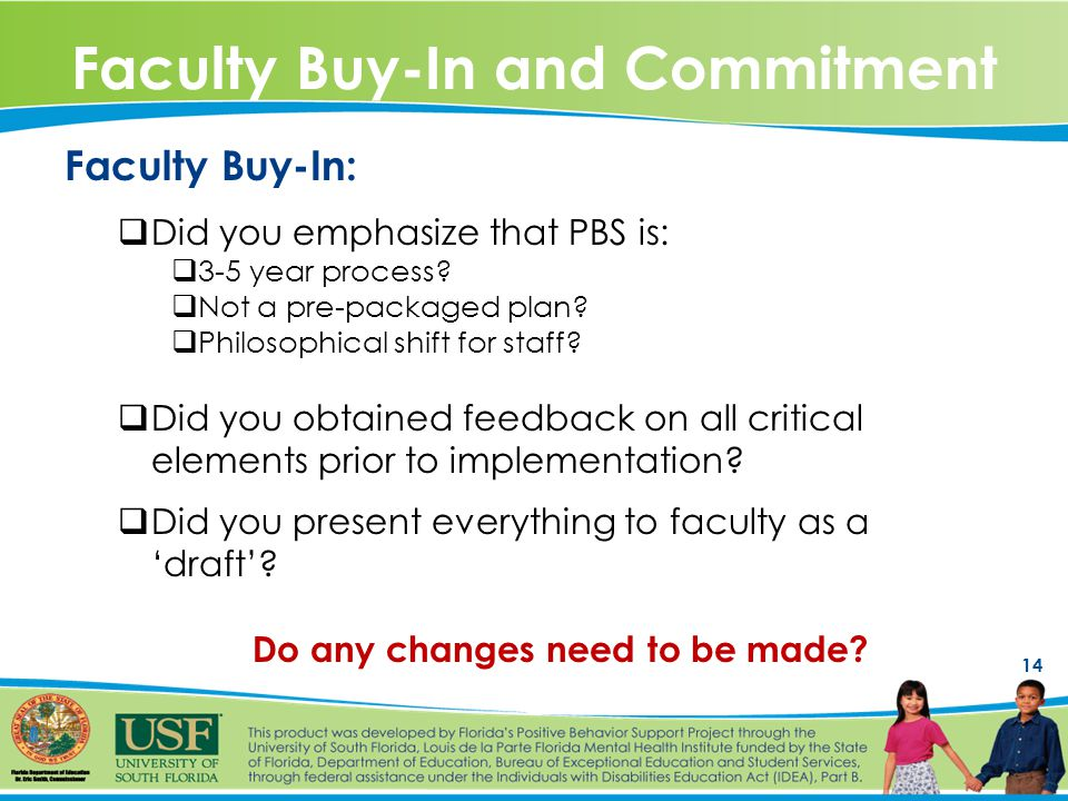 14 Faculty Buy-In and Commitment Faculty Buy-In:  Did you emphasize that PBS is:  3-5 year process.