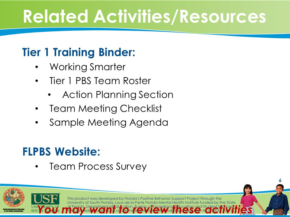 6 Related Activities/Resources Tier 1 Training Binder: Working Smarter Tier 1 PBS Team Roster Action Planning Section Team Meeting Checklist Sample Meeting Agenda FLPBS Website: Team Process Survey You may want to review these activities