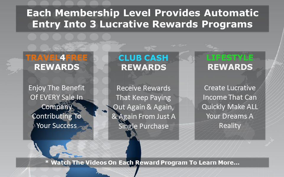TRAVEL4FREE REWARDS Enjoy The Benefit Of EVERY Sale In Company Contributing To Your Success Each Membership Level Provides Automatic Entry Into 3 Lucrative Rewards Programs CLUB CASH REWARDS Receive Rewards That Keep Paying Out Again & Again, & Again From Just A Single Purchase LIFESTYLE REWARDS Create Lucrative Income That Can Quickly Make ALL Your Dreams A Reality * Watch The Videos On Each Reward Program To Learn More…