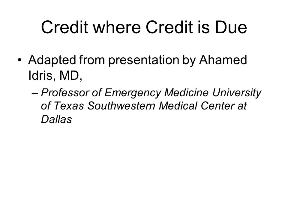 Importance of CPR Robert S  Cole  Credit where Credit is Due