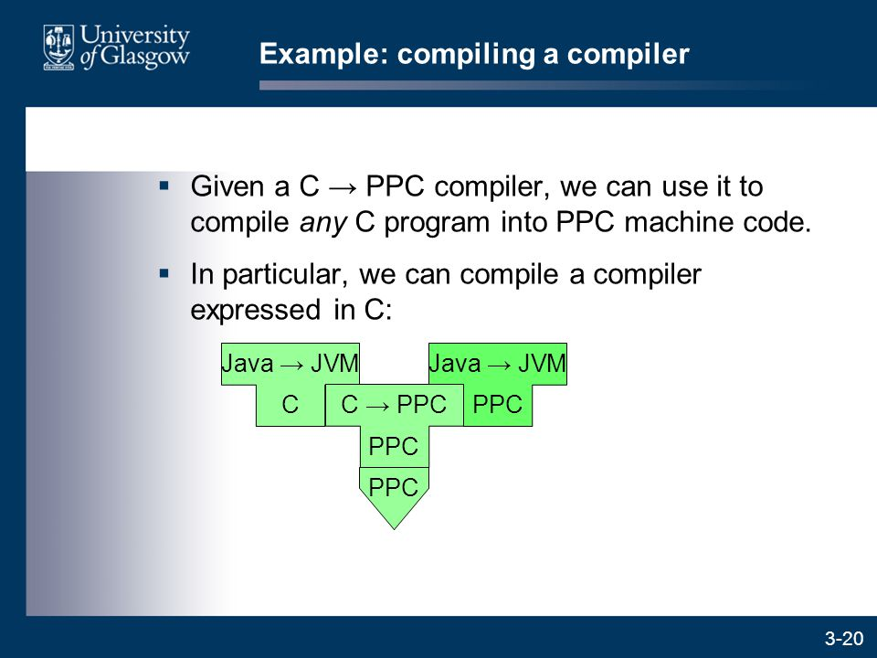 3-20  Given a C → PPC compiler, we can use it to compile any C program into PPC machine code.