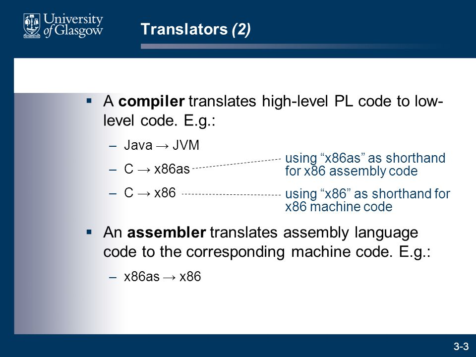 3-3 Translators (2)  A compiler translates high-level PL code to low- level code.