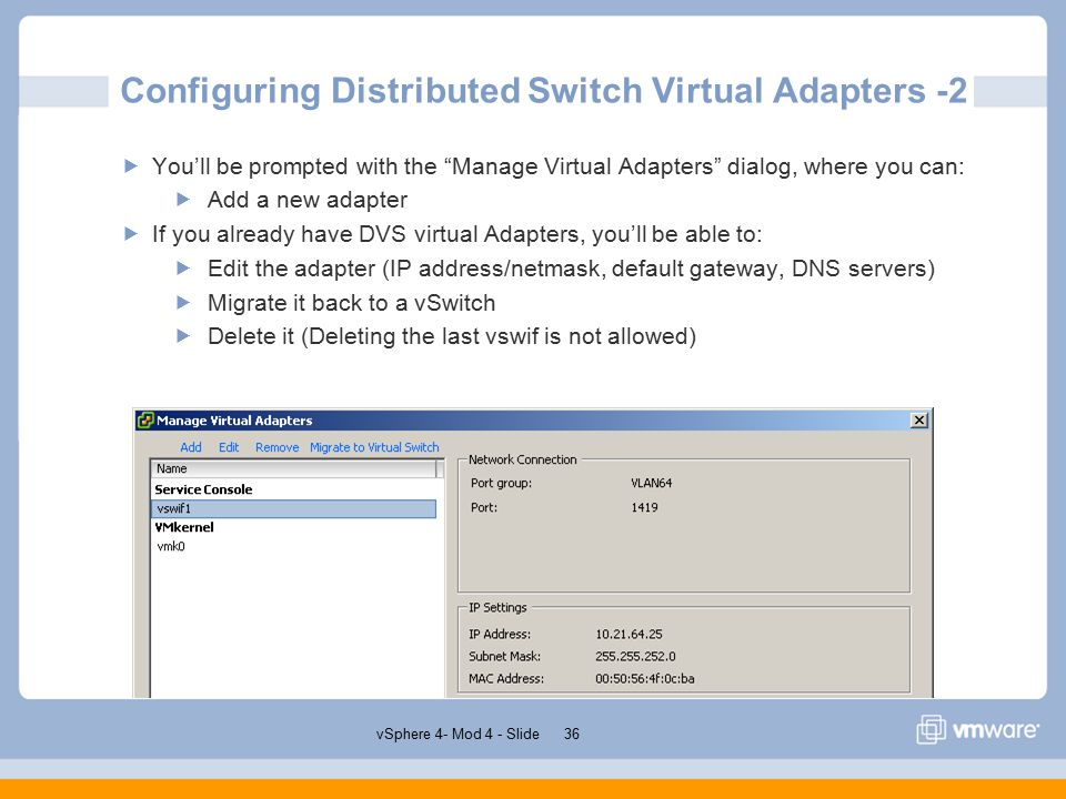 VSphere 4 0 Module 4 – Networking Emiliano Turra Product Support