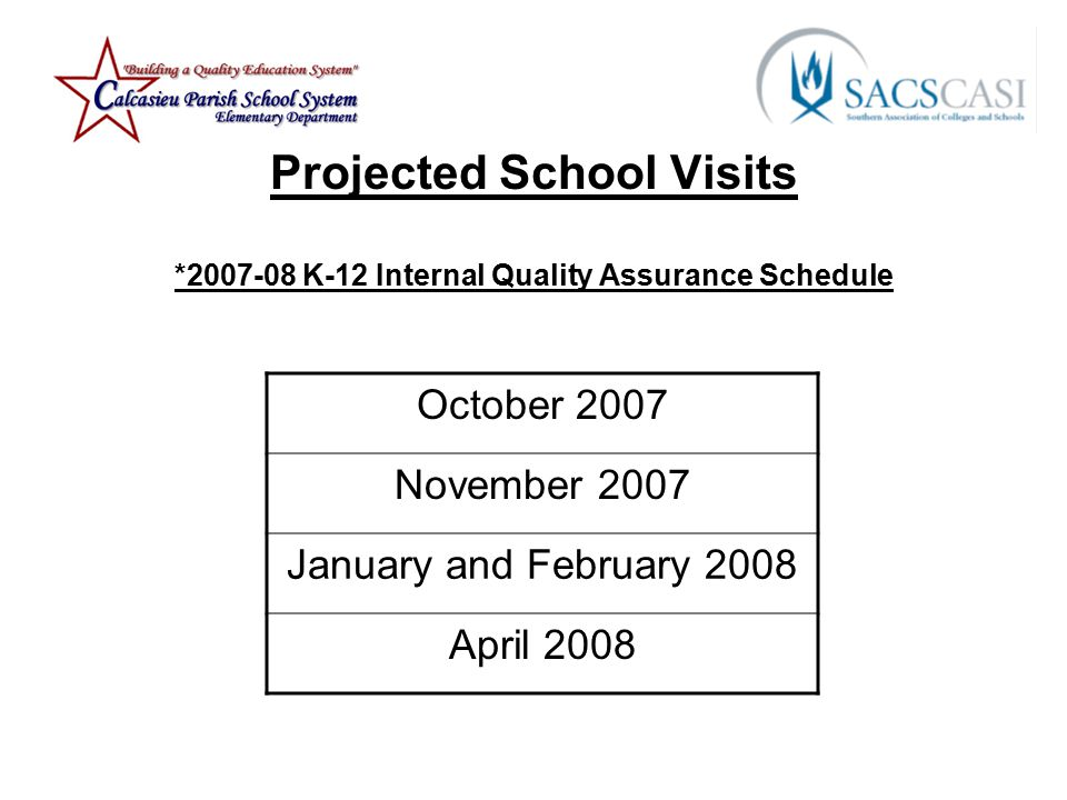 Projected School Visits * K-12 Internal Quality Assurance Schedule October 2007 November 2007 January and February 2008 April 2008