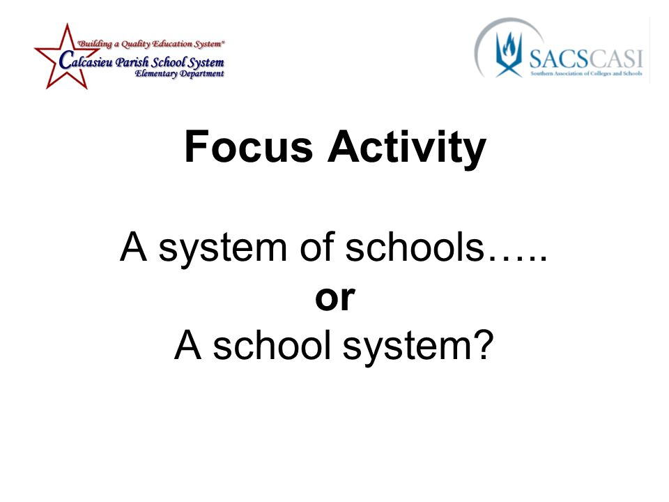Focus Activity A system of schools….. or A school system