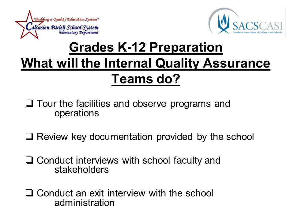 Grades K-12 Preparation What will the Internal Quality Assurance Teams do.