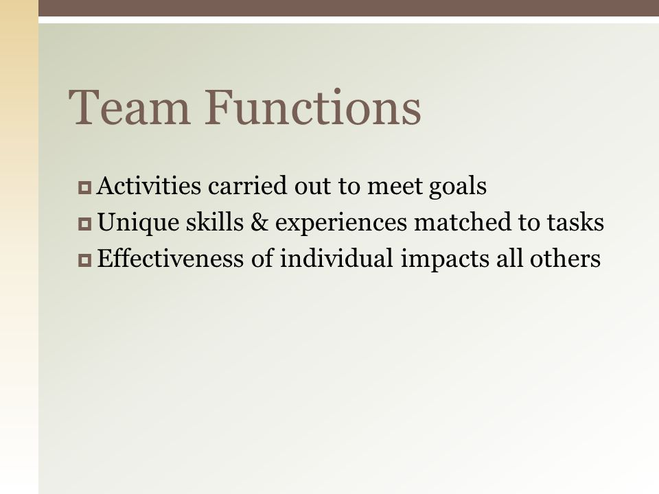 Team Functions  Activities carried out to meet goals  Unique skills & experiences matched to tasks  Effectiveness of individual impacts all others