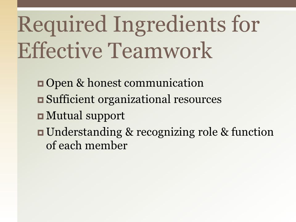 Required Ingredients for Effective Teamwork  Open & honest communication  Sufficient organizational resources  Mutual support  Understanding & recognizing role & function of each member