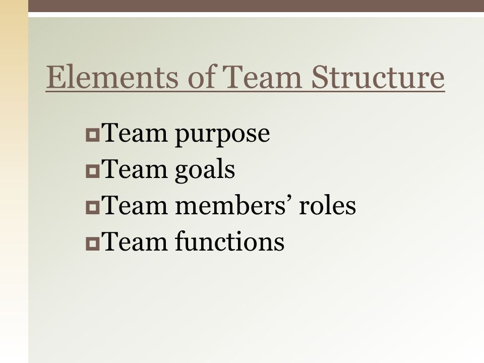 Elements of Team Structure  Team purpose  Team goals  Team members' roles  Team functions
