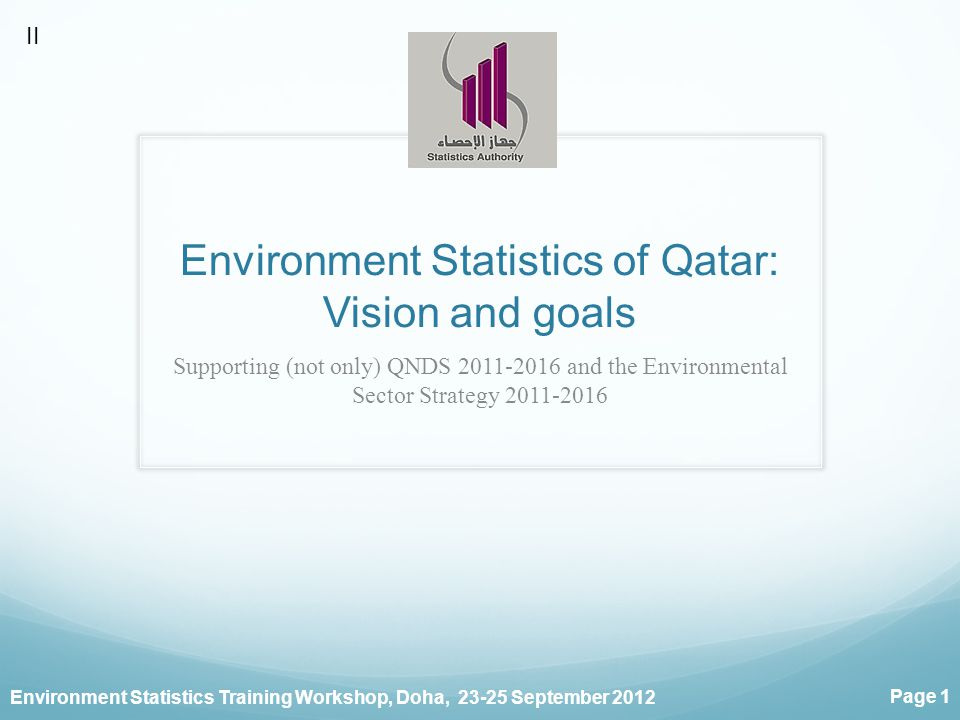 Environment Statistics Training Workshop, Doha, September 2012 Page 1 Environment Statistics of Qatar: Vision and goals Supporting (not only) QNDS and the Environmental Sector Strategy II