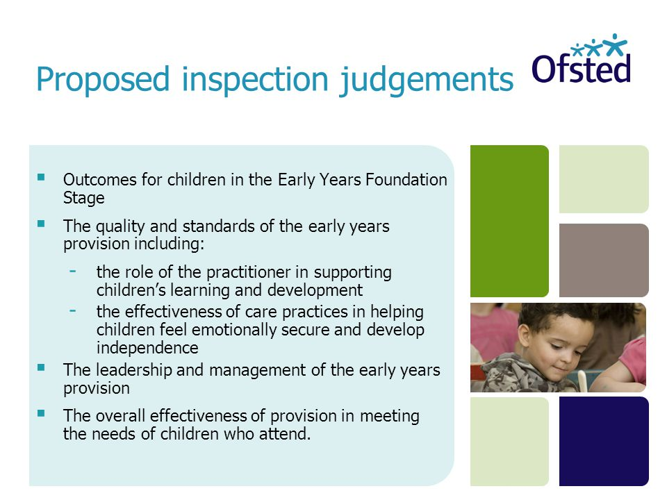  Outcomes for children in the Early Years Foundation Stage  The quality and standards of the early years provision including: - the role of the practitioner in supporting children's learning and development - the effectiveness of care practices in helping children feel emotionally secure and develop independence  The leadership and management of the early years provision  The overall effectiveness of provision in meeting the needs of children who attend.