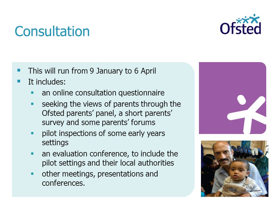  This will run from 9 January to 6 April  It includes:  an online consultation questionnaire  seeking the views of parents through the Ofsted parents' panel, a short parents' survey and some parents' forums  pilot inspections of some early years settings  an evaluation conference, to include the pilot settings and their local authorities  other meetings, presentations and conferences.