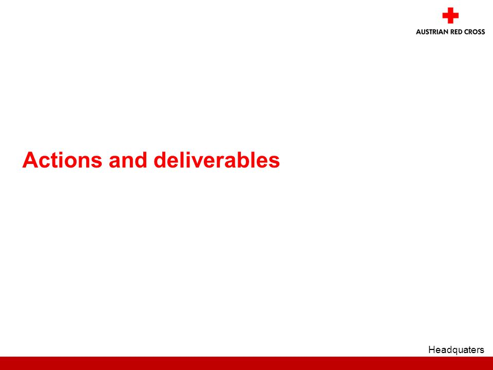 Actions and deliverables Headquaters