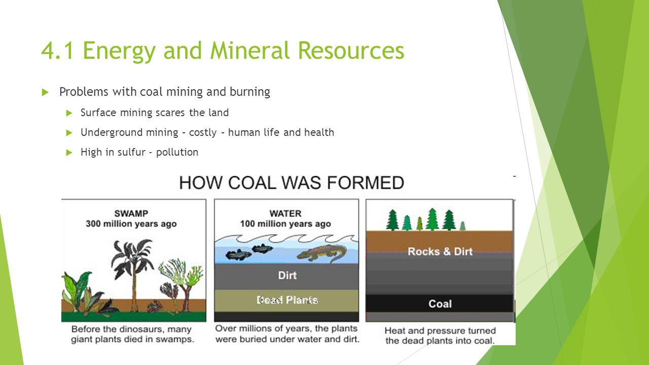  Problems with coal mining and burning  Surface mining scares the land  Underground mining – costly – human life and health  High in sulfur - pollution 4.1 Energy and Mineral Resources