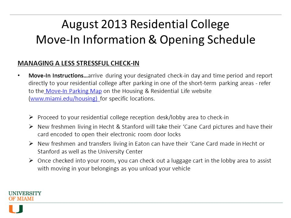 Residential College Move-in and New Student and Parent