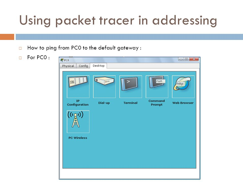 Using packet tracer in addressing  How to ping from PC0 to the default gateway :  For PC0 :