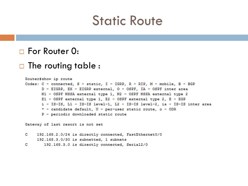 Static Route  For Router 0:  The routing table :