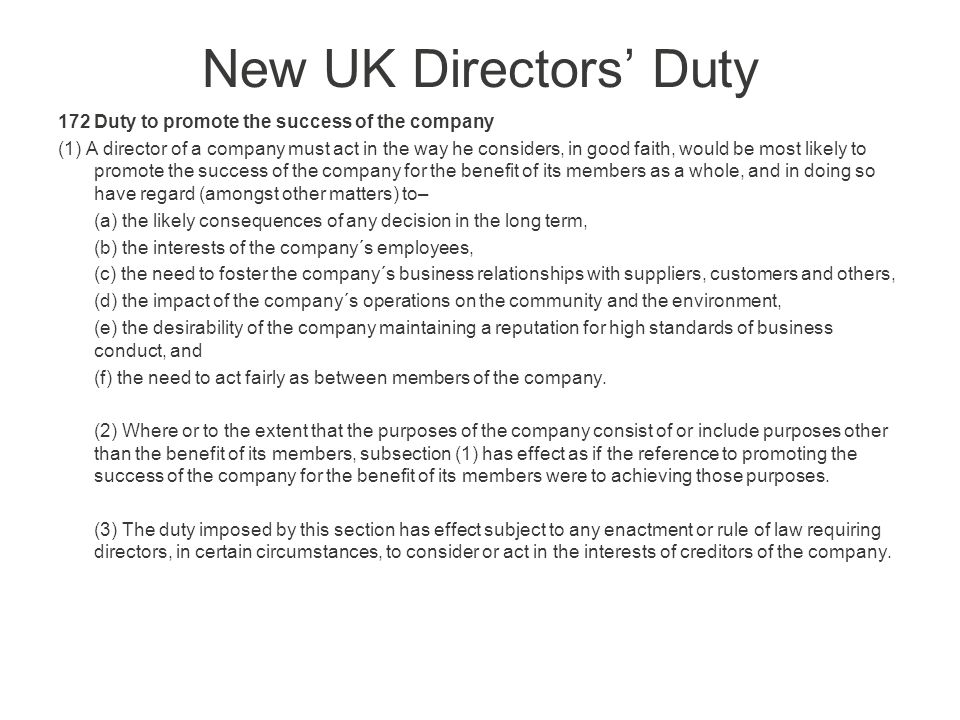 director duties company law essay The essay on liabilities of a director  act 2001 (cth) laws directors' duties since companies are usually established and managed by directors ratification for common law duties, breaches can be ratified by general meeting of shareholders heng can vote - subject to equitable limitation doctrine.