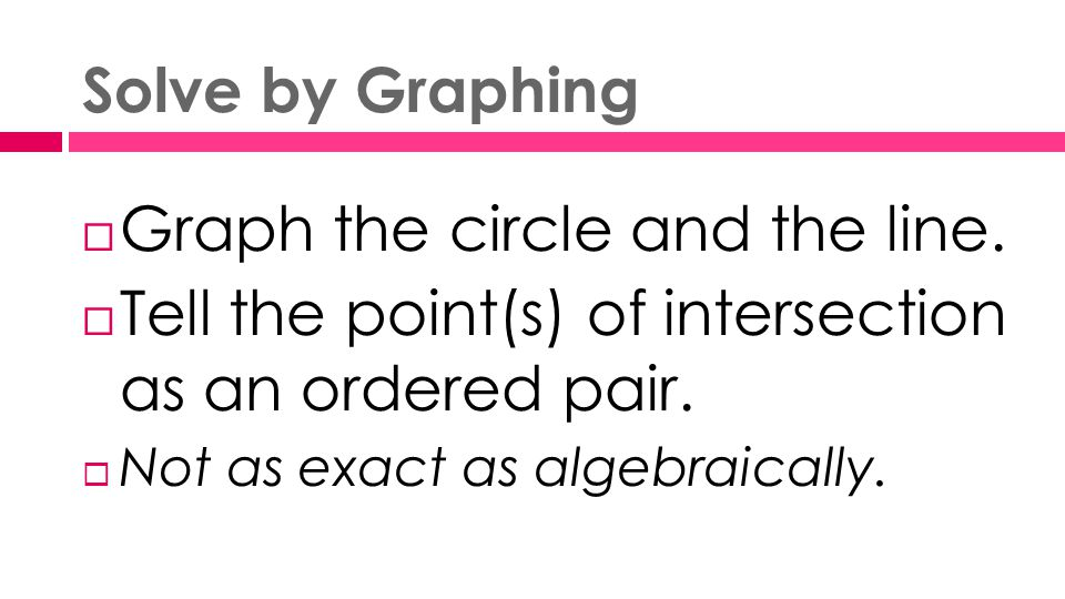 Solve by Graphing  Graph the circle and the line.
