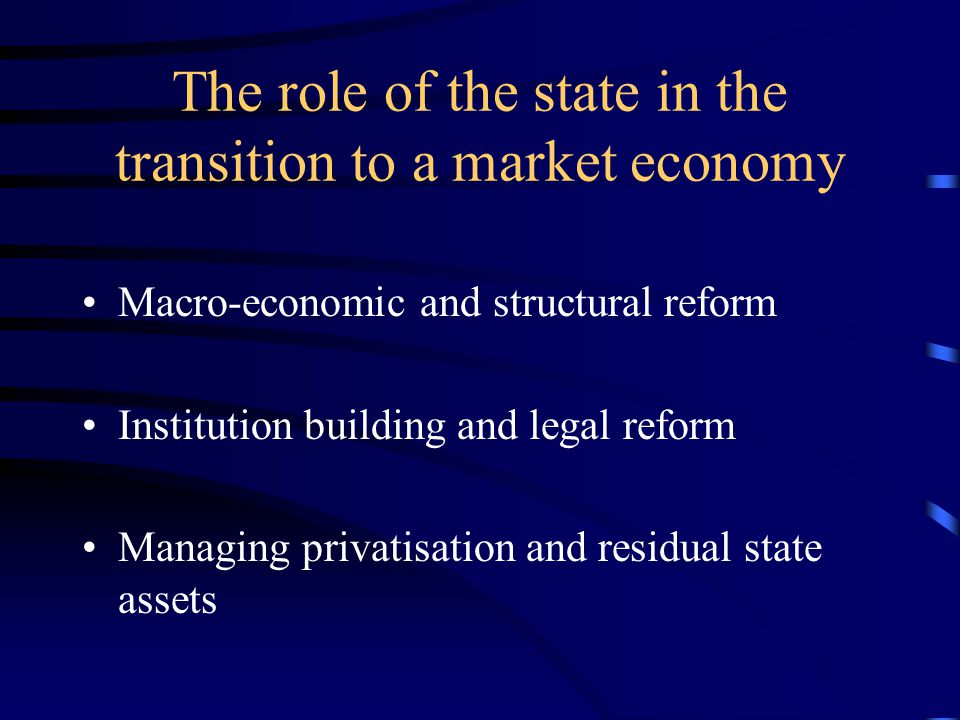 The role of the state in the transition to a market economy Macro-economic and structural reform Institution building and legal reform Managing privatisation and residual state assets