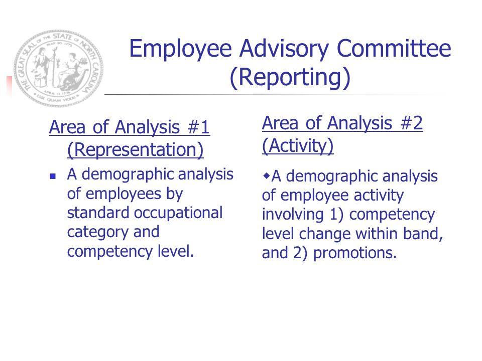 Employee Advisory Committee (Reporting) Area of Analysis #1 (Representation) A demographic analysis of employees by standard occupational category and competency level.