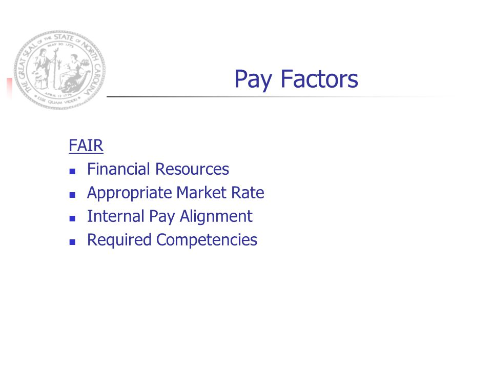 Pay Factors FAIR Financial Resources Appropriate Market Rate Internal Pay Alignment Required Competencies