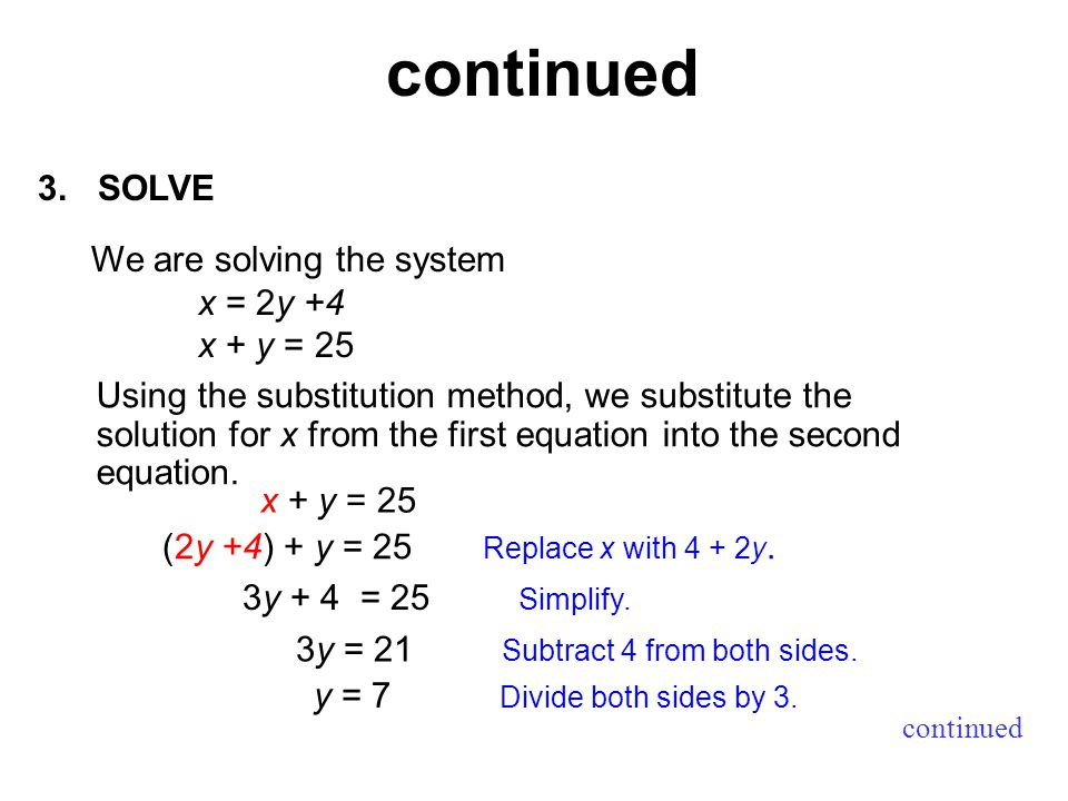 3.SOLVE continued Using the substitution method, we substitute the solution for x from the first equation into the second equation.